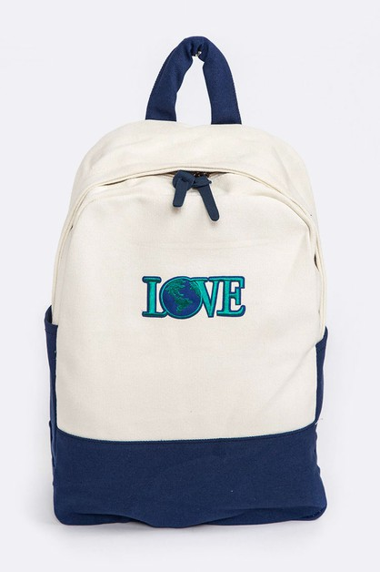 LOVE Earth Patch Canvas Backpack - orangeshine.com
