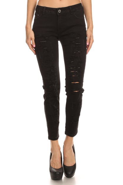 Distressed Stretch Skinny Jeans - orangeshine.com