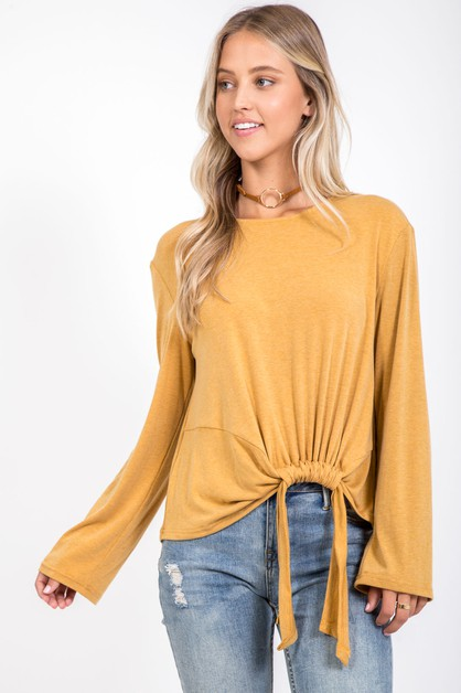 SOLID LONG SLEEVE FRONT TIE KINT TOP - orangeshine.com