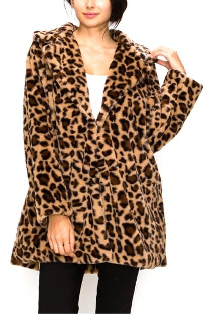 Leopard Printed Faux Fur Soft Coat - orangeshine.com