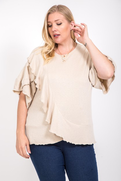SOLID SHORT SLEEVE RUFFLED TOP  - orangeshine.com