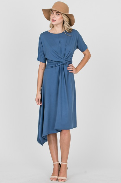Jersey dress with drape detailing  - orangeshine.com