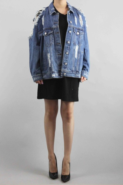 Denim Distress Jacket - orangeshine.com