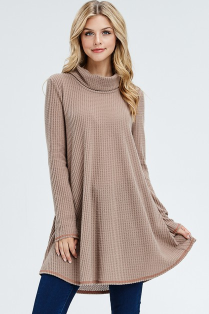 Solid Thermal Cowl Neck Dress - orangeshine.com