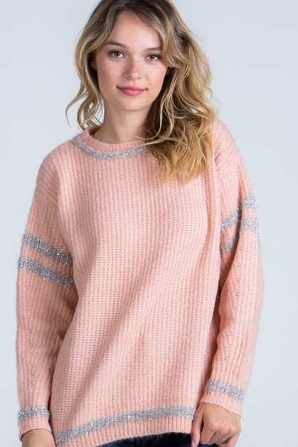 Casual Sweater with Shimmer Detail - orangeshine.com