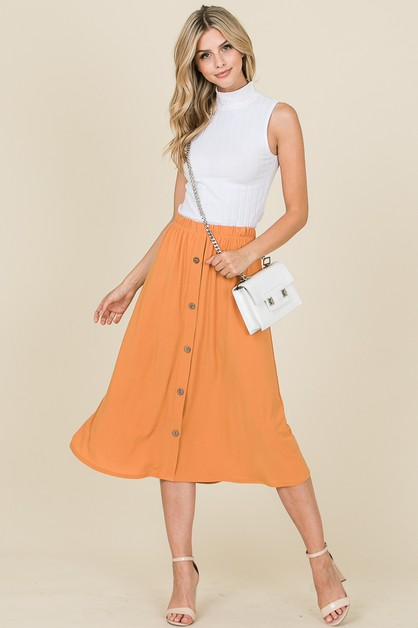 ELASTIC WAIST SKIRT WITH BUTTON TRIM - orangeshine.com