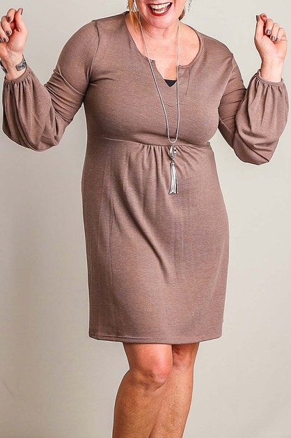 LONG PUFF SLEEVE LOOSE FIT KNIT DRES - orangeshine.com