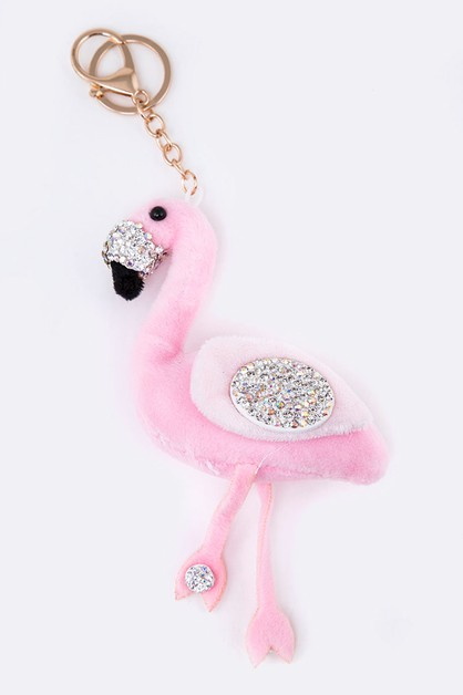 Crystal Plush Flamingo Key Chain - orangeshine.com