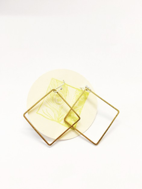 Large square brass earrings - orangeshine.com
