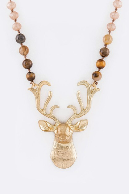 3D Reindeer Pendant Mix Necklace - orangeshine.com