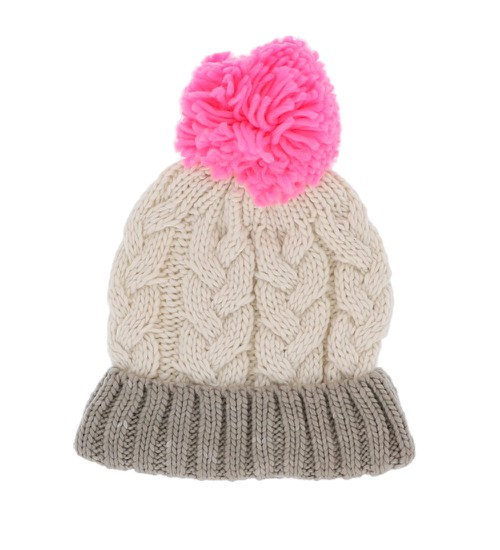 Braided Knit Pom Pom Beanie - orangeshine.com