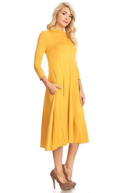 Mock Neck quarter sleeves Dress - orangeshine.com
