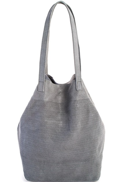 GENUINE LEATHER 2IN1 MESH TOTE BAG  - orangeshine.com