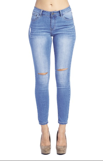Skinny Jeans Light Wash Denim - orangeshine.com