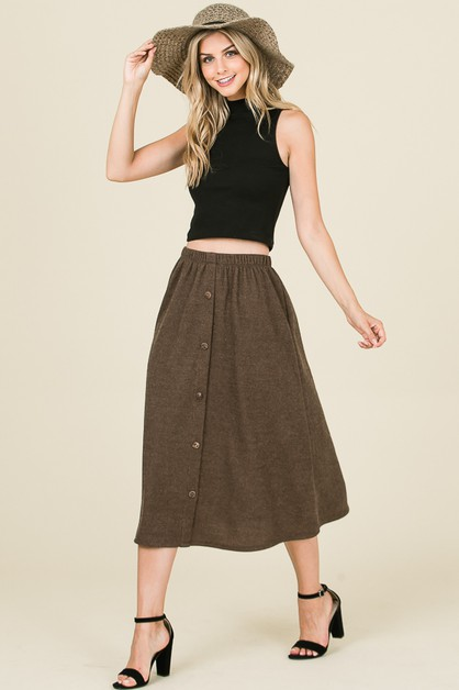 ELASTIC WAIST SKIRT FT BUTTON TRIM - orangeshine.com