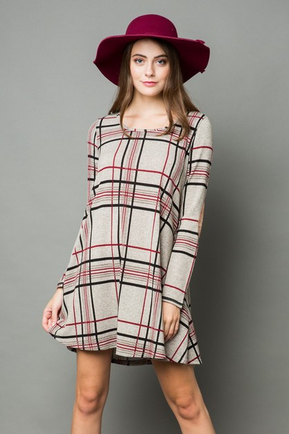 PLAID DRESS WITH ELBOW PATCH  - orangeshine.com