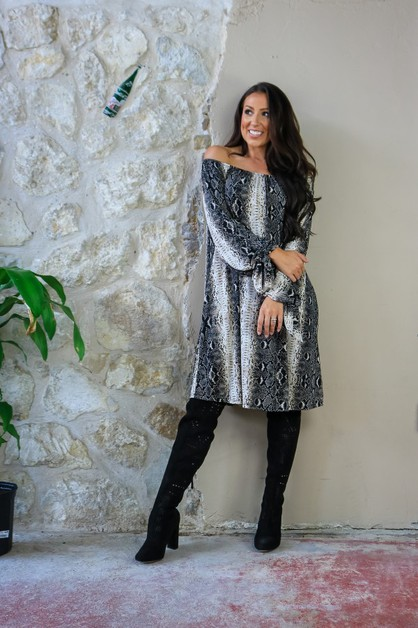 BLACK SNAKE OFF SHOULDER TUNIC - orangeshine.com