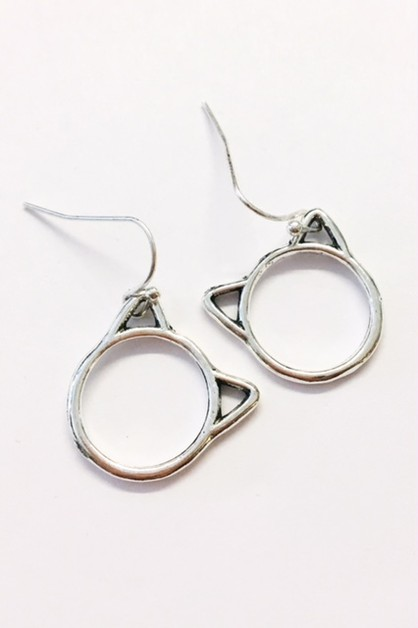cut out kitty head earrings - orangeshine.com