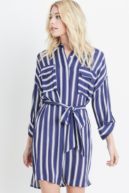 Striped Button Down Dress - orangeshine.com