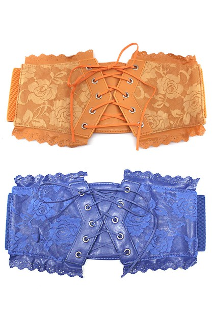 corset wide lace bow elastic belt - orangeshine.com