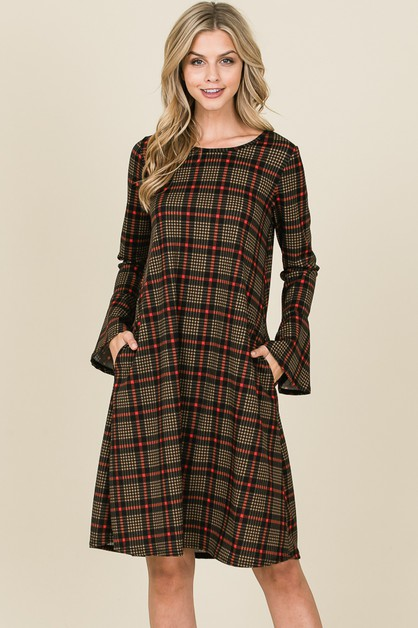 BELL SLEEVE PLAID PRINT SWING DRESS - orangeshine.com