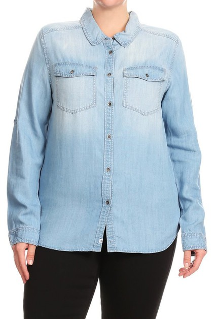 Plus Size-Lyocell-Denim-Tops-Shirts - orangeshine.com