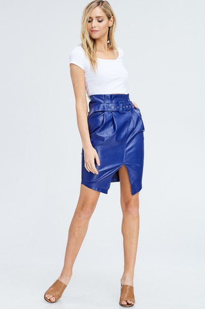 HIGH WAIST FAUX LEATHER SLIT SKIRT  - orangeshine.com