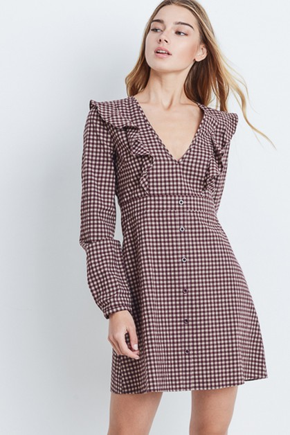 Gingham Check Bib Dress - orangeshine.com