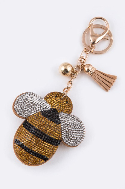 Crystal Bee Puff Key Charm - orangeshine.com