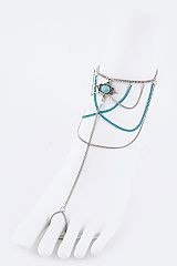 Turquoise Charm and Chain Sandal - orangeshine.com