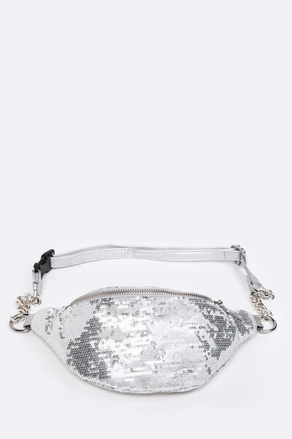 Sequins Iconic Chain Strap Fanny - orangeshine.com