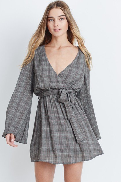 Plaid Bell Sleeve Dress - orangeshine.com