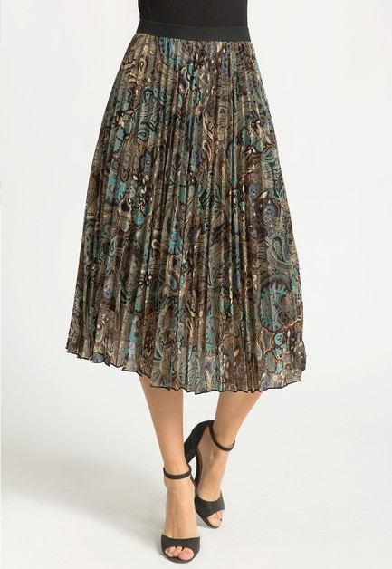 FOIL PRINT PLEATED MIDI SKIRT - orangeshine.com