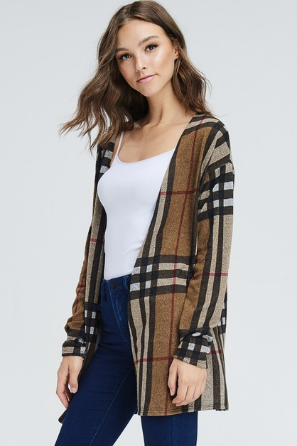 Plaid Long Sleeve Kimono Cardigan - orangeshine.com