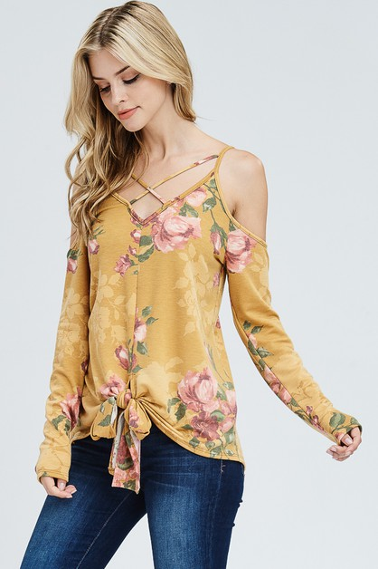 Cold Shoulder Floral Knit Top - orangeshine.com