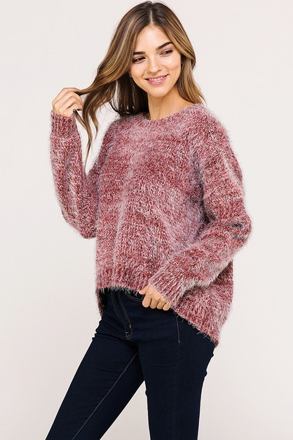 TWO TONE COZY CASUAL KNIT SWEATER - orangeshine.com
