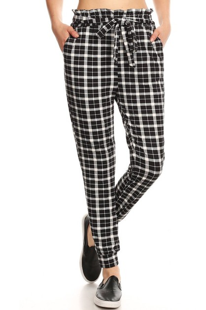 Paper Bag Waist Joggers Pants Plaid - orangeshine.com