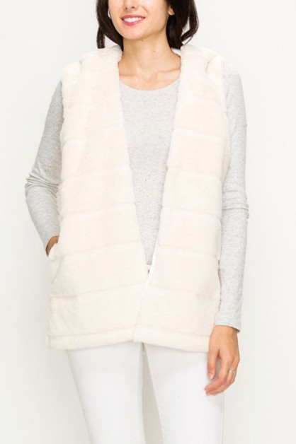 Faux Fur Hooded Zip Vest - orangeshine.com