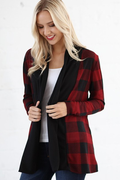 OPEN FRONT PLAID PATTERN CARDIGAN  - orangeshine.com