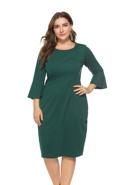 Solid Round neck Plus Dresses - orangeshine.com
