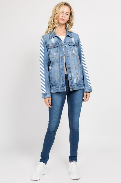 PLUS SIZE SIDE STRIPE PAINTED JACKET - orangeshine.com
