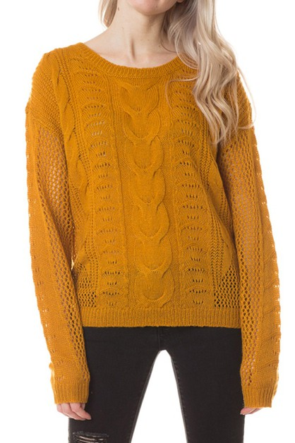 Fisherman knit relaxed fit sweater - orangeshine.com