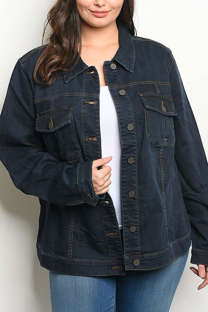 BUTTON DOWN COLLARED DENIM JACKET - orangeshine.com