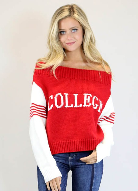 RED SWEATER WITH COLLEGE - orangeshine.com