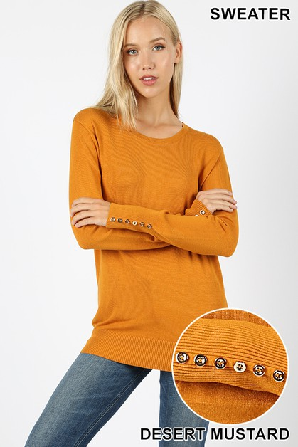 ROUND NECK ROSE GOLD BUTTONS SWEATER - orangeshine.com