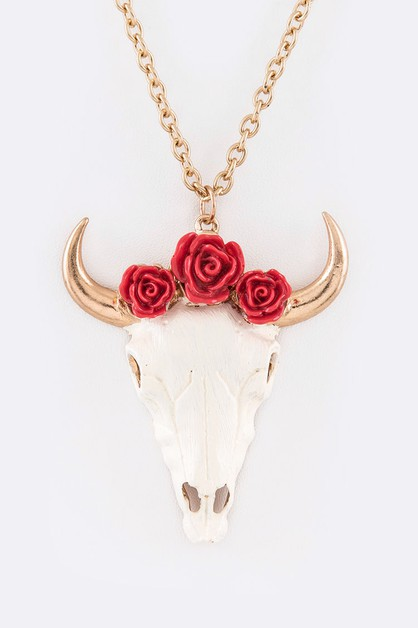 Rose Steer Head Pendant Necklace Set - orangeshine.com