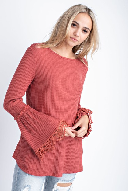 Bell Sleeve Top with Lace Trim - orangeshine.com