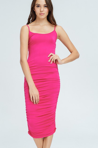 Ruched tank solid dress - orangeshine.com