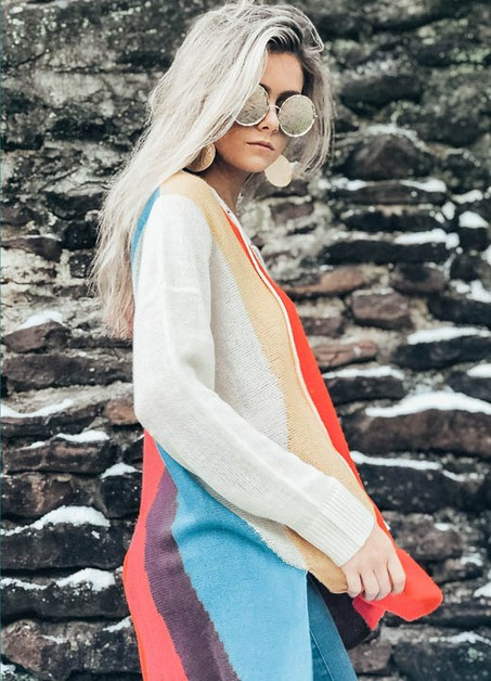 MULTI STRIPE LACE UP SWEATER - orangeshine.com