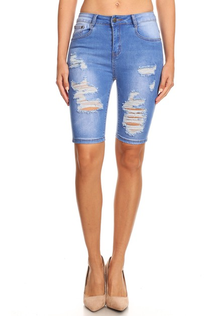 HIGH WAIST DISTRESSED BERMUDA SHORTS - orangeshine.com